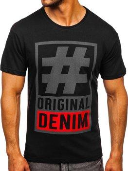 Чорна чоловіча футболка з принтом Bolf 008