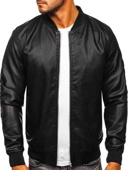 Чорна чоловіча шкіряна куртка-бомбер Bolf HK05