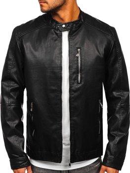Чорна шкіряна Чоловіча куртка Bolf 1149