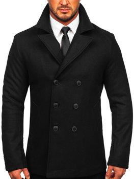 Чорне двобортне чоловіче зимове пальто з високим коміром Bolf 8801