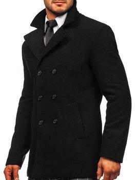 Чорне двобортне чоловіче пальто з високим коміром Bolf 8078