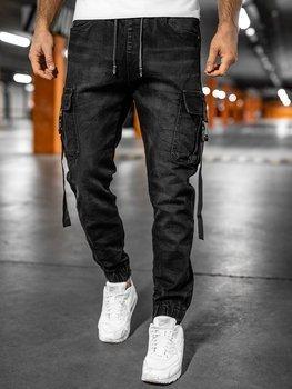Чорні джинси джоггери-карго чоловічі Bolf K8871
