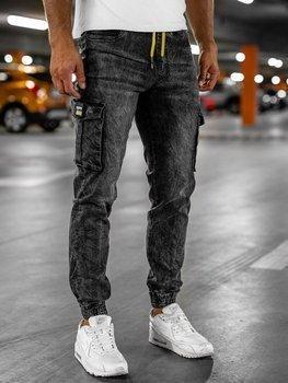 Чорні чоловічі джинси джоггери карго Bolf HY686