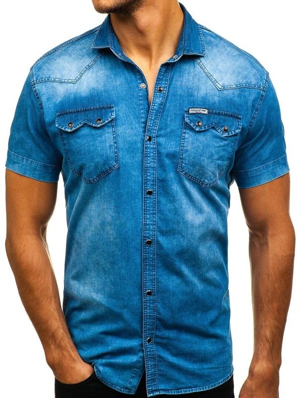 Джинсова сорочка чоловіча з коротким рукавом синя Bolf 2636