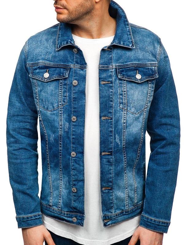 Куртка джинсова чоловіча темно-синя Bolf AK585