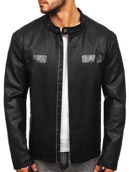 Куртка чоловіча шкіряна чорна Bolf 1122