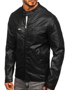Куртка чоловіча шкіряна чорна Bolf 1130