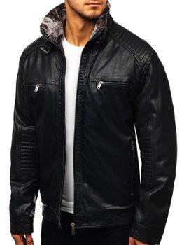 Куртка чоловіча шкіряна чорна Bolf EX834