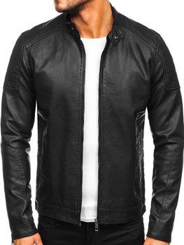 Куртка чоловіча шкіряна biker чорна Bolf 88901