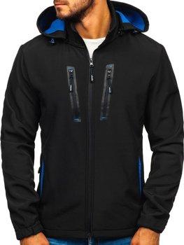 Чоловіча демісезонна куртка софтшелл чорна Bolf KM82627