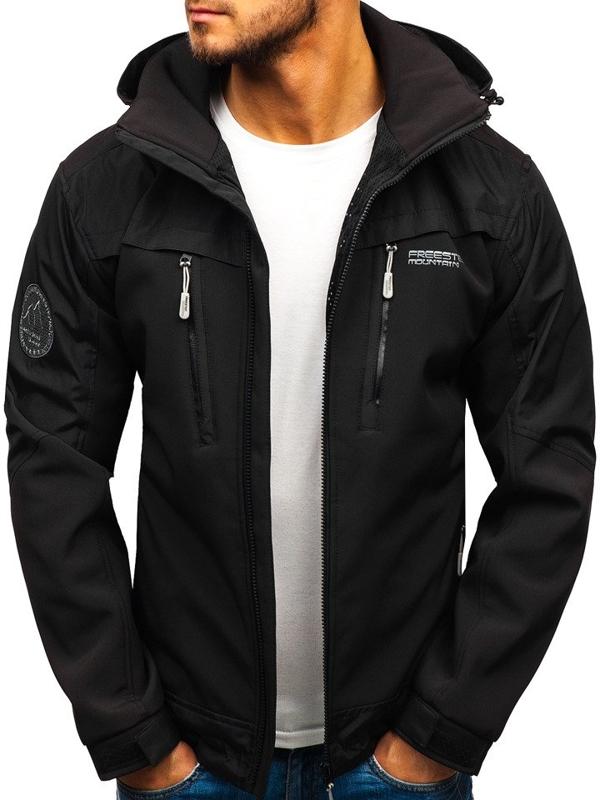 Чоловіча демісезонна куртка софтшелл чорна Bolf P187