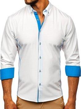 Чоловіча елегантна сорочка з довгим рукавом біло-блакитна Bolf 5722-1-A
