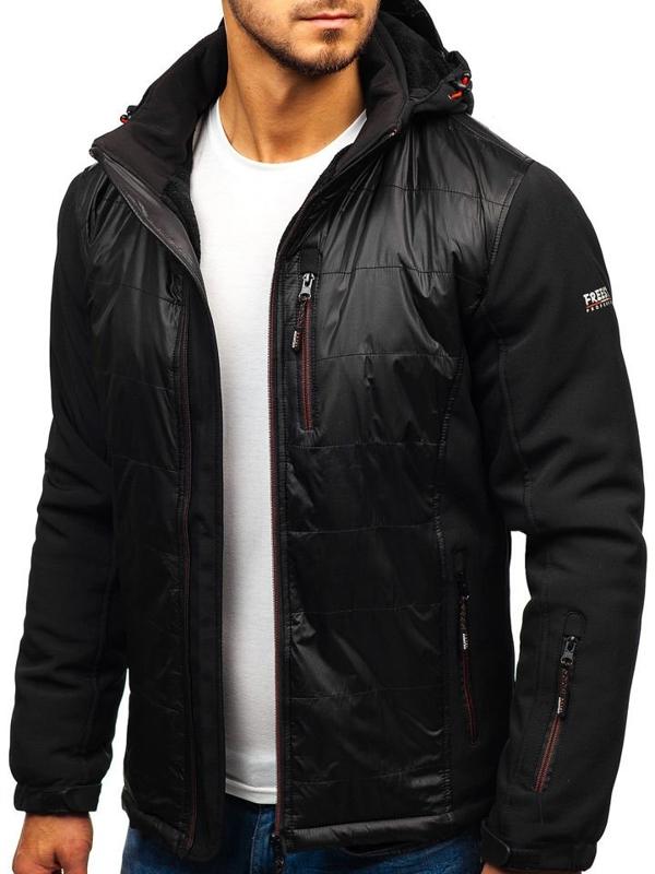 Чоловіча куртка софтшелл чорно-червона Bolf 5633