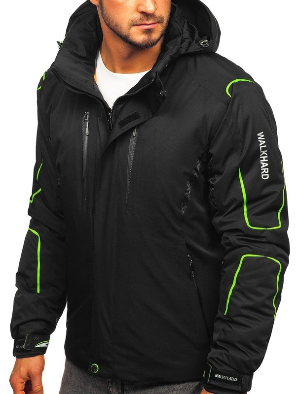 Чоловіча лижна куртка чорно-зелена Bolf A5625