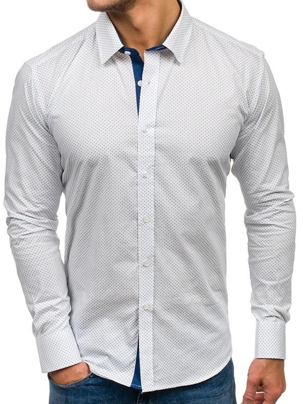 Чоловіча рубашка з візерунком з довгим рукавом біла Bolf GE1014