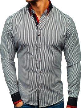Чоловіча сорочка в смужку з довгим рукавом чорно-біла Bolf 2751