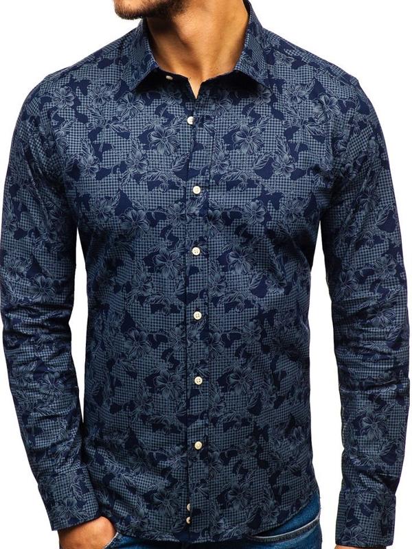 Чоловіча сорочка з візерунком з довгим рукавом темно-синя 210G17
