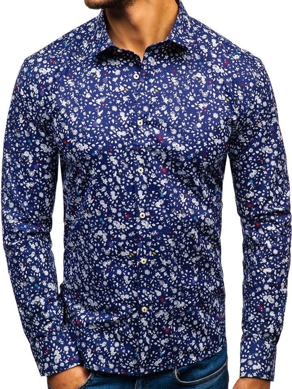 Чоловіча сорочка з візерунком з довгим рукавом темно-синя 300G12