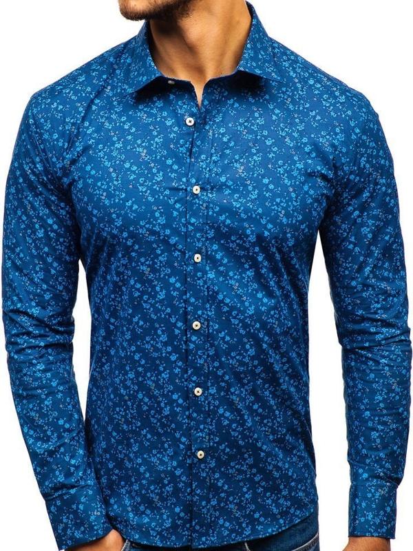Чоловіча сорочка з візерунком з довгим рукавом темно-синя 300G6