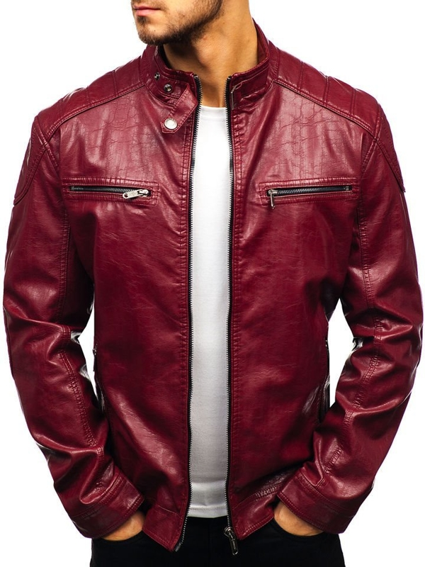 Чоловіча шкіряна куртка бордова Bolf ex379