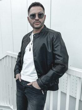 Чоловіча шкіряна куртка чорна Bolf 1073-A
