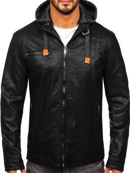Чоловіча шкіряна куртка чорна Bolf EX892