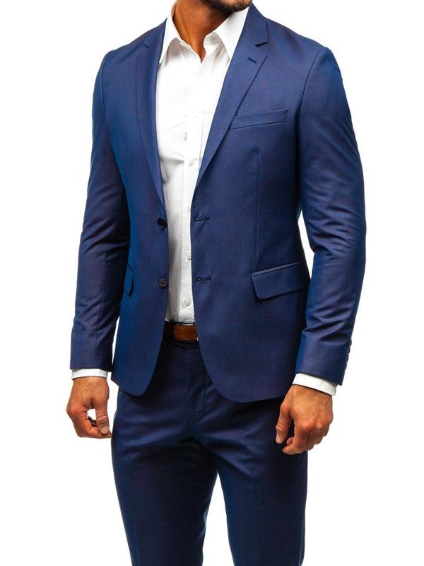 Чоловічий костюм темно-синій Bolf 19200