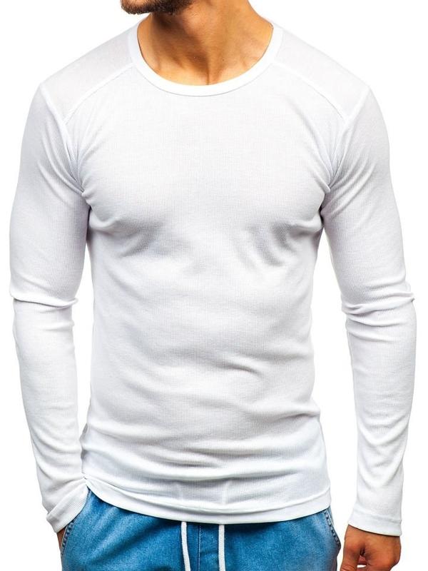 Чоловічий лонгслів без принта білий Bolf C10038