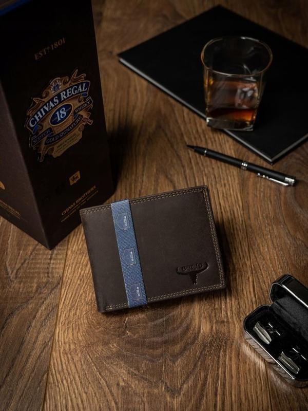 Чоловічий шкіряний гаманець коричневий 2222