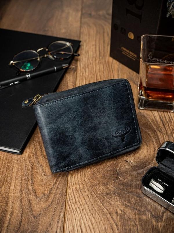 Чоловічий шкіряний гаманець синій 1636