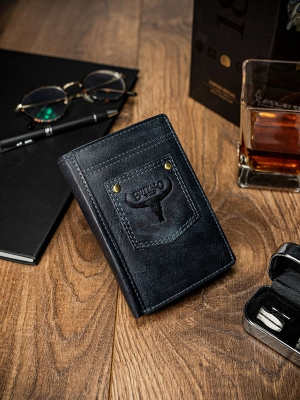 Чоловічий шкіряний гаманець синій 1646