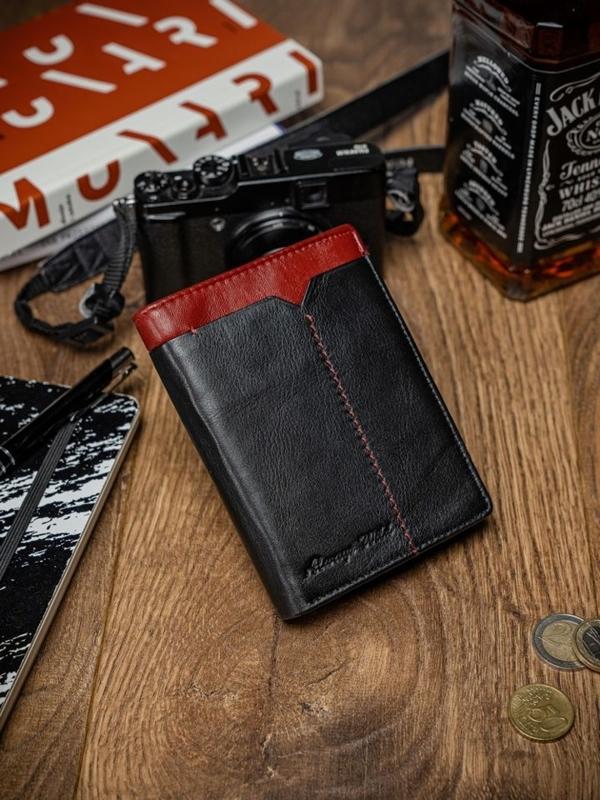 Чоловічий шкіряний гаманець чорно-червоний 2052