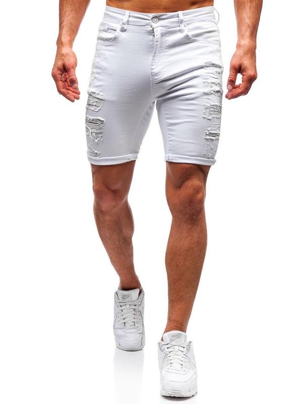 Чоловічі джинсові шорти білі Bolf T392