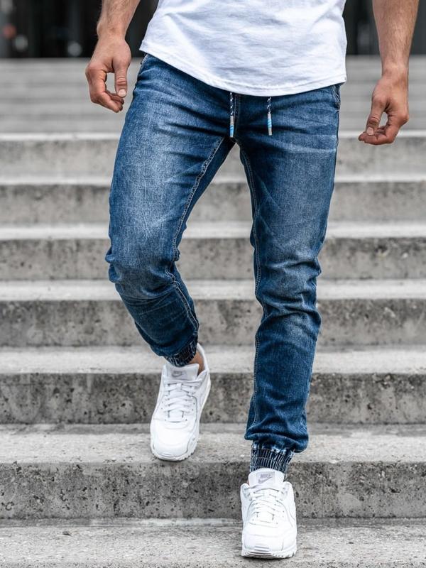 Чоловічі джинсові штани джоггери темно-сині Bolf KA730