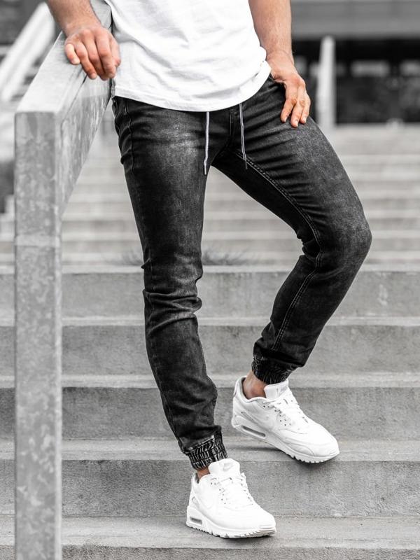 Чоловічі джинсові штани джоггери чорні Bolf KA1075