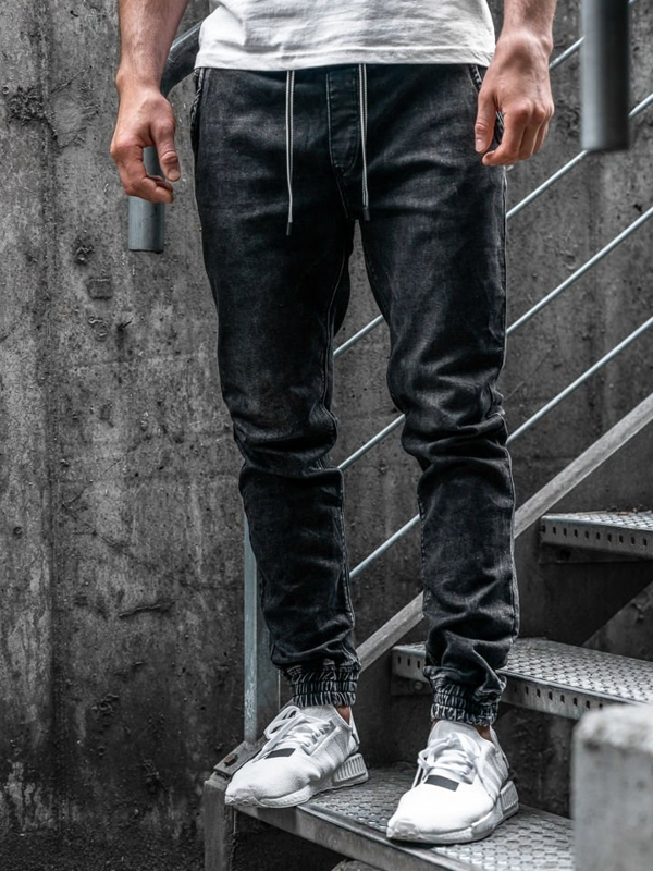 Чоловічі джинсові штани джоггери чорні Bolf KA1078