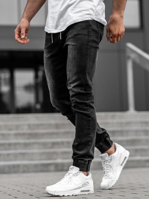 Чоловічі джинсові штани джоггери чорні Bolf KA1096