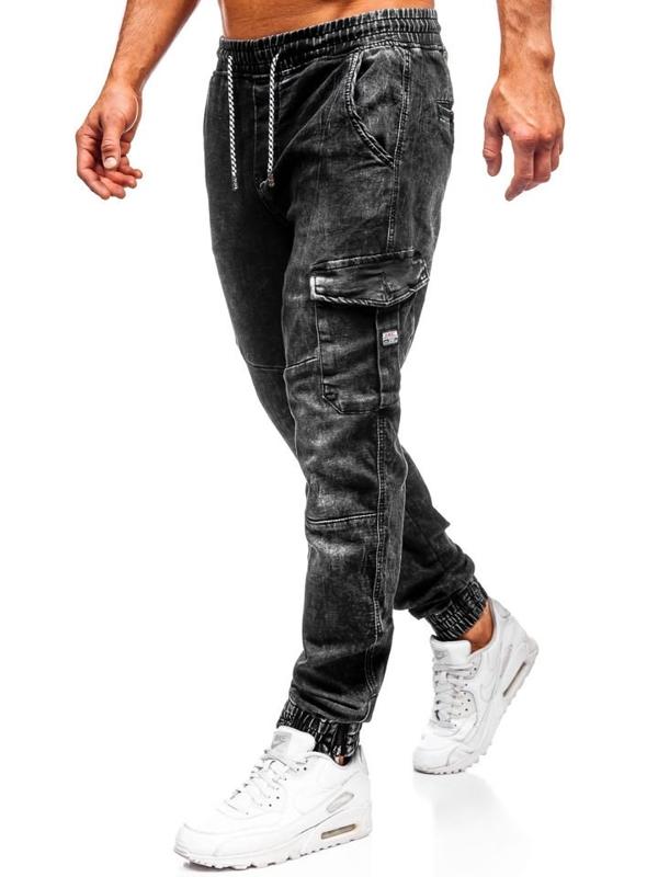 Чоловічі джинсові штани джоггери чорні Bolf KA686-4