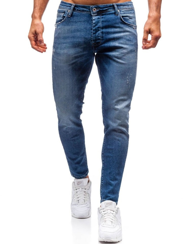 Чоловічі джинсові штани темно-сині Bolf 7158