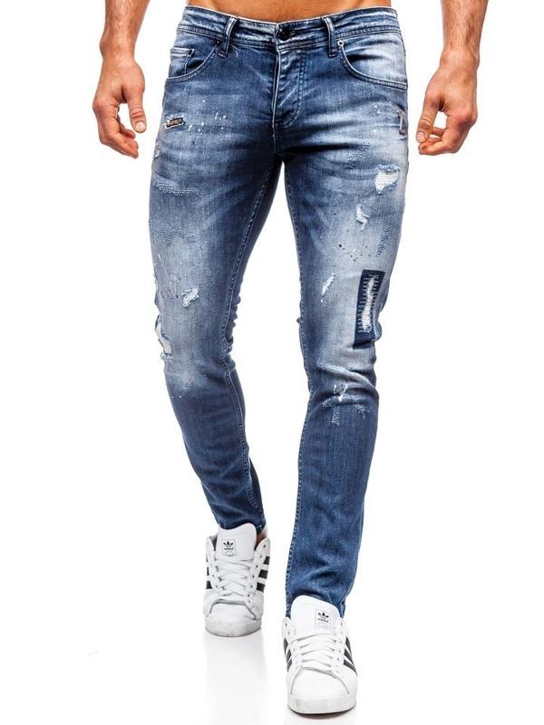 Чоловічі джинсові штани regular fit темно-сині Bolf 4012