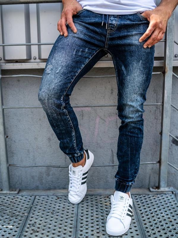 Чоловічі штаны джоггери джинсові темно-сині Bolf KA606