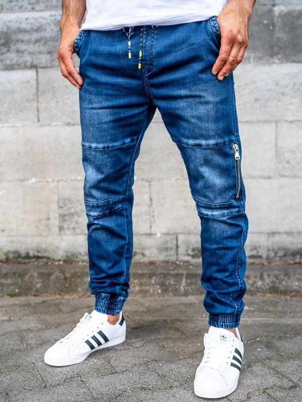 Чоловічі штаны джоггери джинсові темно-сині Bolf KA752