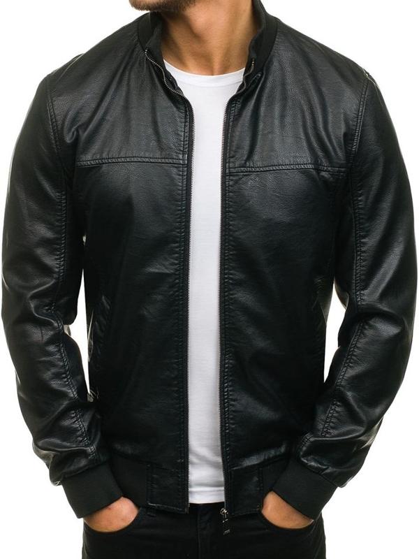 Чорна чоловіча шкіряна куртка Bolf 8006