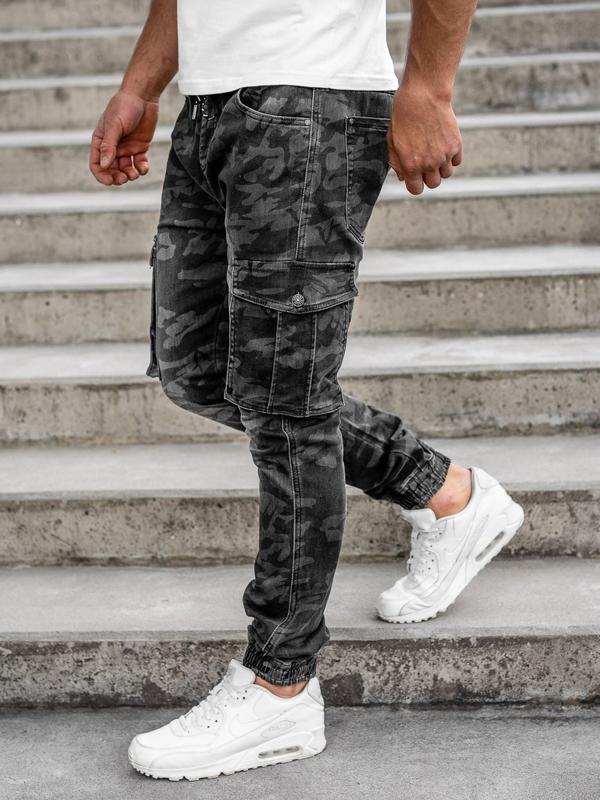 Чорні чоловічі камуфляжні штани джоггери-карго Bolf RB9491DT