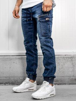 Штани джинсові джоггери чоловічі темно-сині Bolf KA687-1