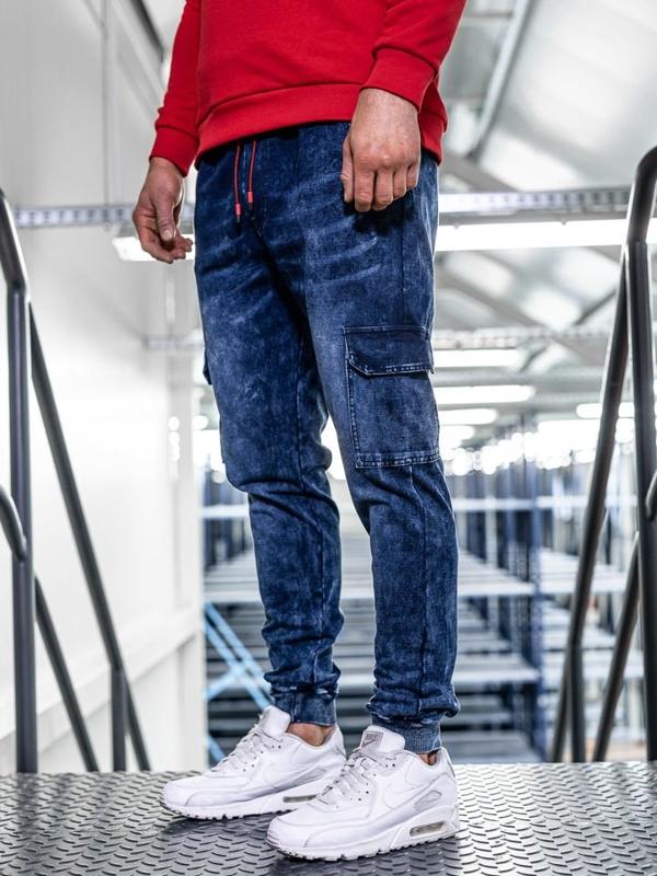 Штани джоггери чоловічі джинсові темно-сині Bolf KK1033