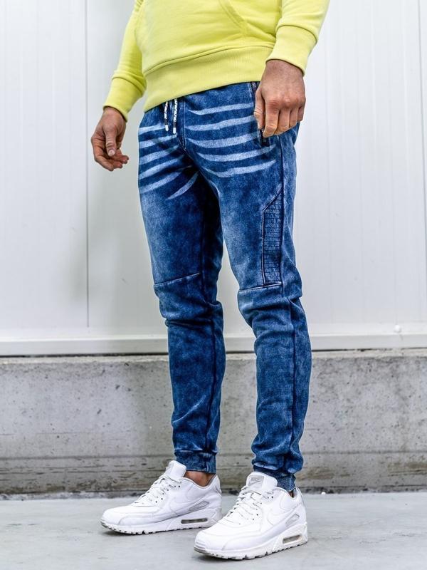 Штани джоггери чоловічі джинсові темно-сині Bolf KK1063