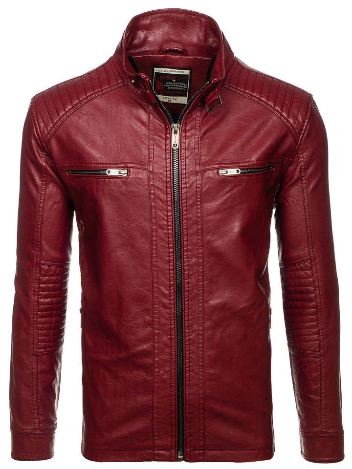 Чоловіча шкіряна куртка бордова Bolf ex386 ad22afa3b4ff3