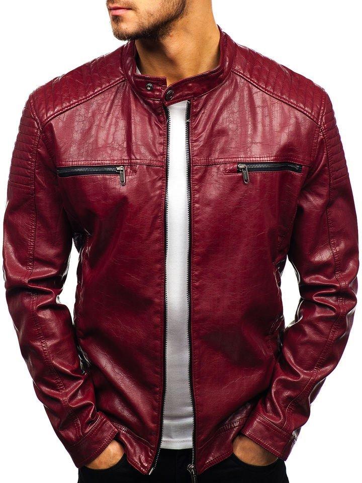 Чоловіча шкіряна куртка бордова Bolf ex390-A 4b196b72dfd93