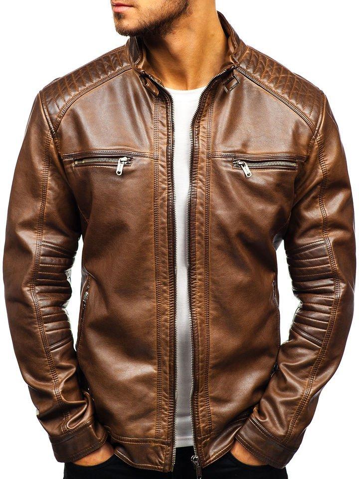 Чоловіча шкіряна куртка коричнева Bolf ex807 9e35579835f6a